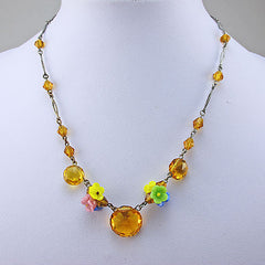 Vintage Beads Necklace Faceted Glass Flowers