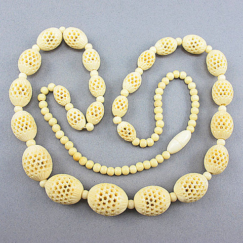 vintage beads necklace carved bone beads jewelry
