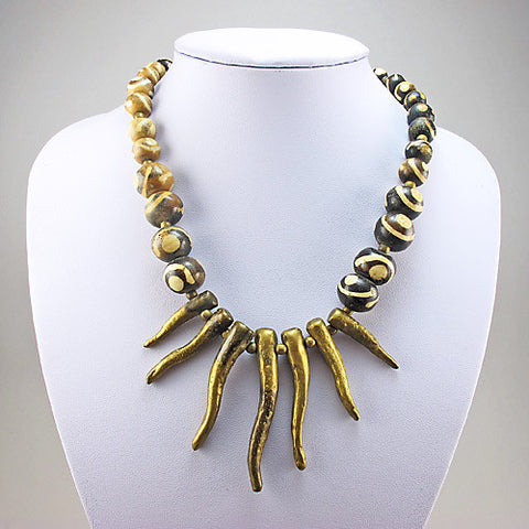 Vintage African Beads Necklace Batik Bone And Brass Pendants