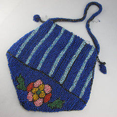 Antique beaded bag dark blue beads