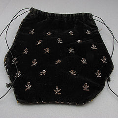 Antique beaded evening purse black cut steel