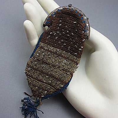 Old beaded purse micro glass and steel beads