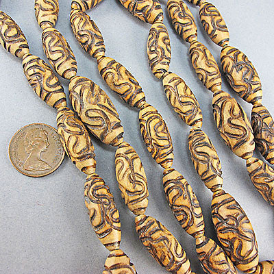 Vintage wood beads carved strand