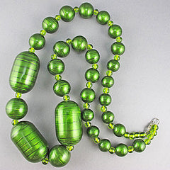 Vintage wood beads necklace green coated