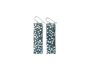 Blue Speckled Four Corners Leather Earrings