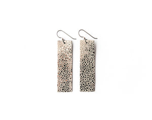 Anthracite Speckled Four Corners Leather Earrings