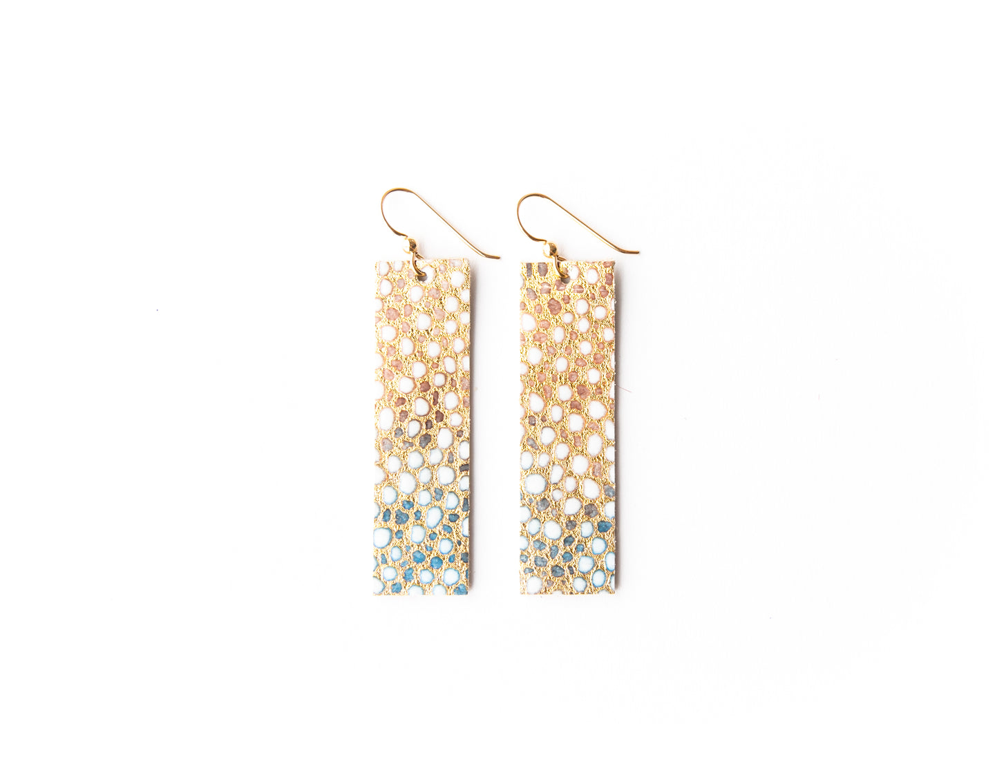 Gold and Blue Speckled Four Corners Leather Earrings
