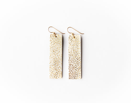 White and Gold Speckled Four Corners Leather Earrings