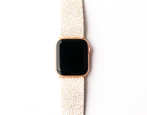 White and Gold Speckled Watch Band