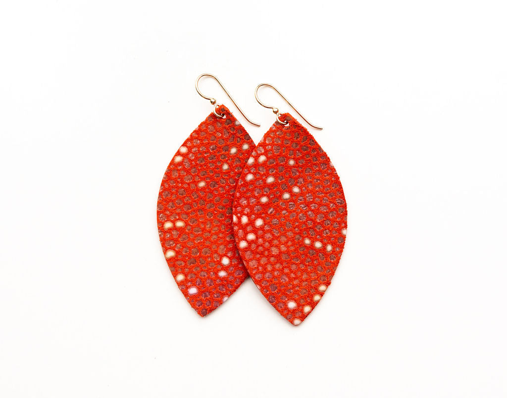 Coral Speckled Leather Earrings