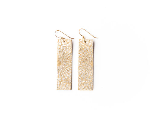 Starburst Gold Four Corners Leather Earrings
