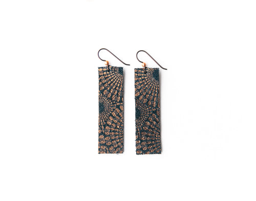 Starburst Blue and Bronze Four Corners Leather Earrings