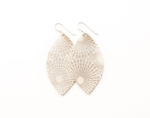 Platinum Starburst Leather Earrings