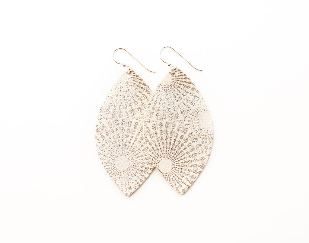 Starburst Platinum Leather Earrings