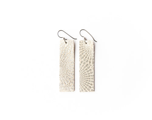 Platinum Four Corners Leather Earrings