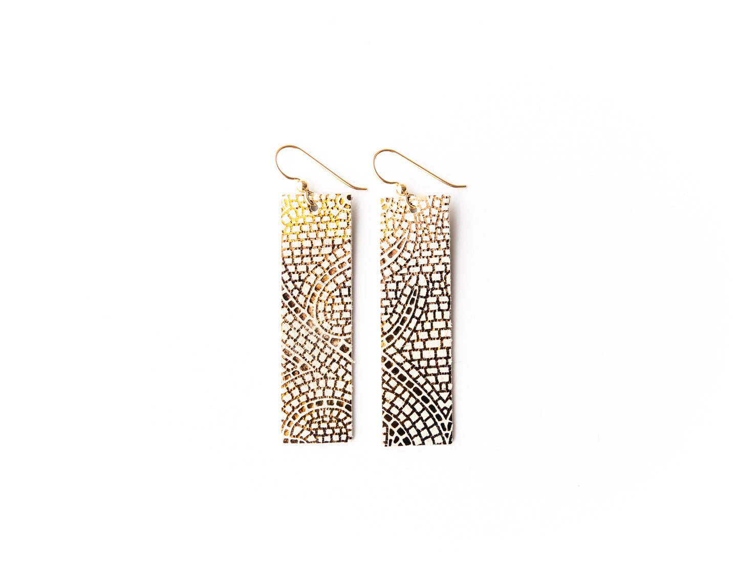 Mosaic Cream and Bronze Four Corners Leather Earrings