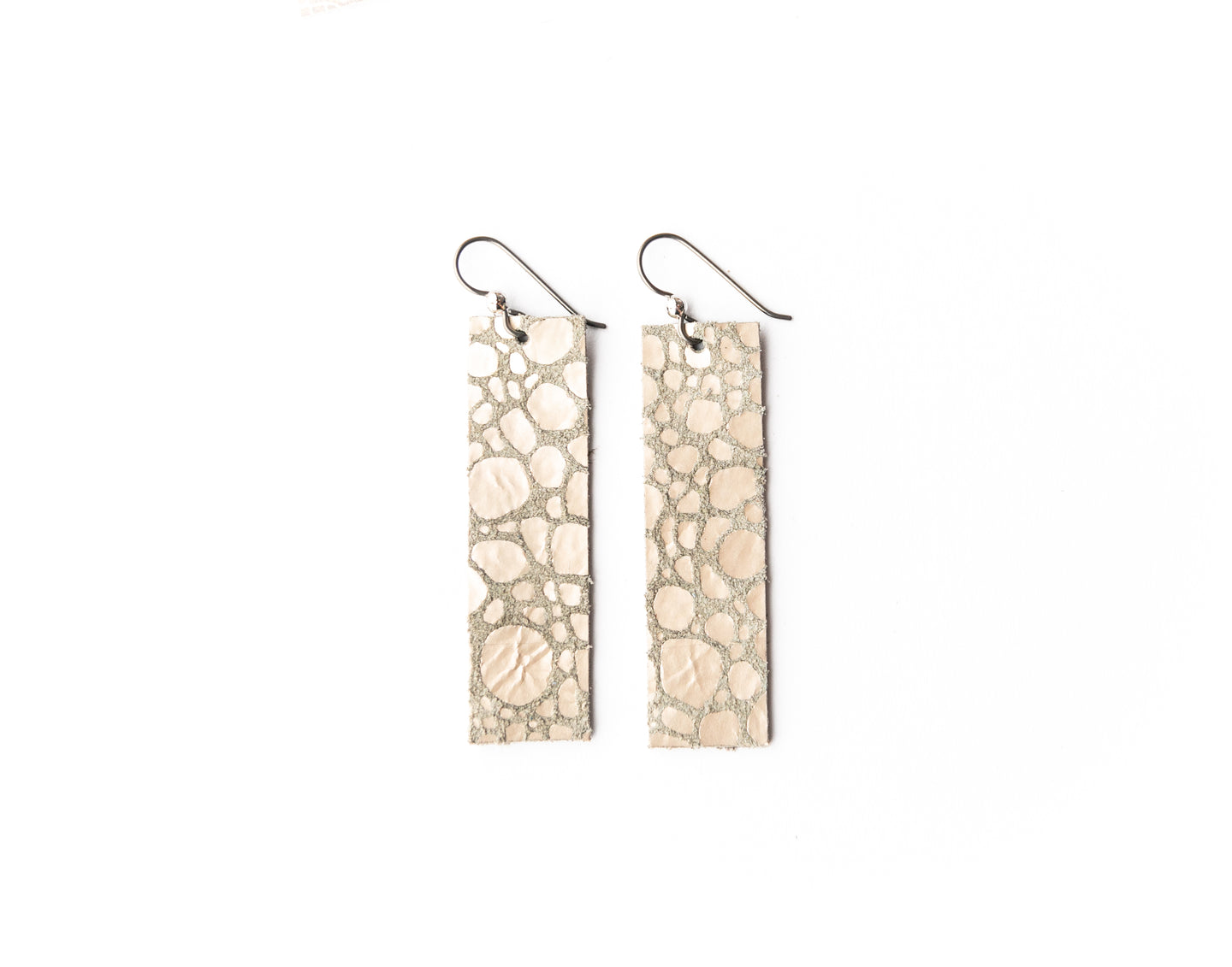 Pebbles in Platinum Four Corners Leather Earrings