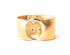 Gold Shimmer Leather Cuff