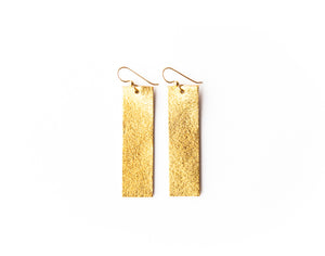 Gold Shimmer Four Corners Leather Earrings