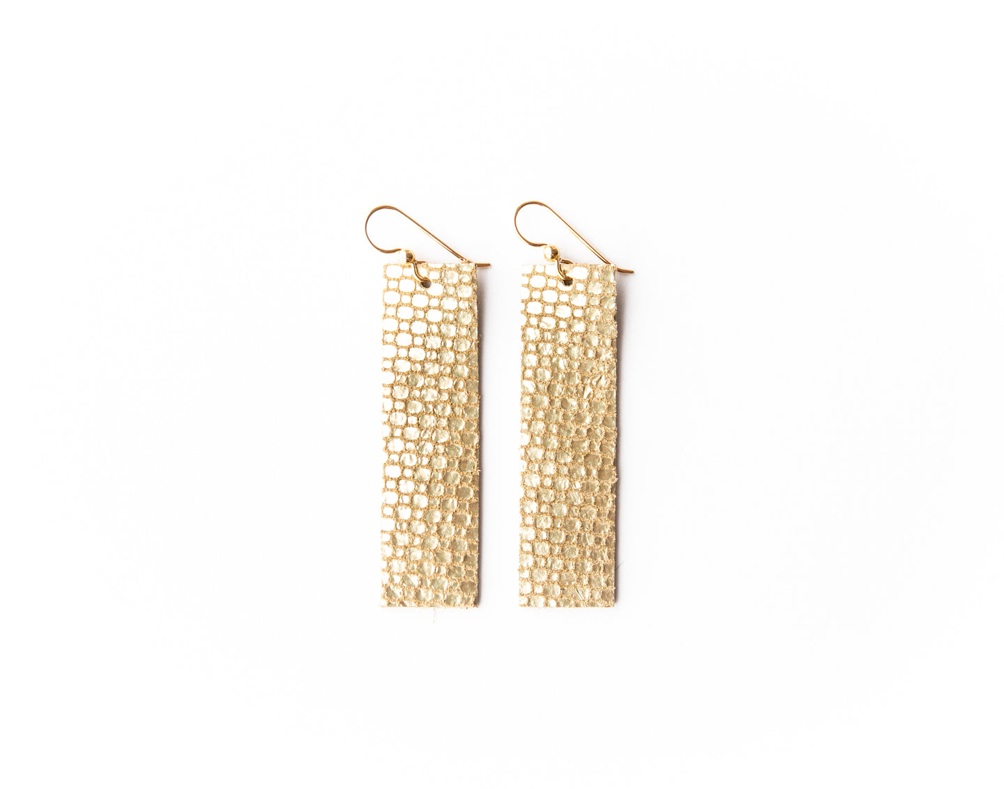 Gold Cobblestone Four Corners Leather Earrings