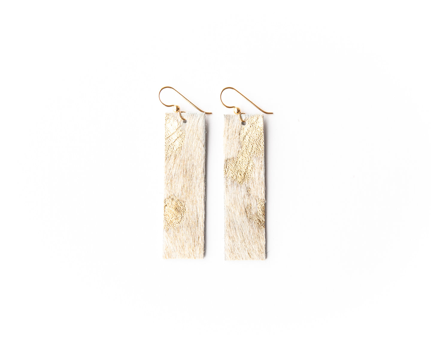 Gold Foil Four Corners Leather Earrings