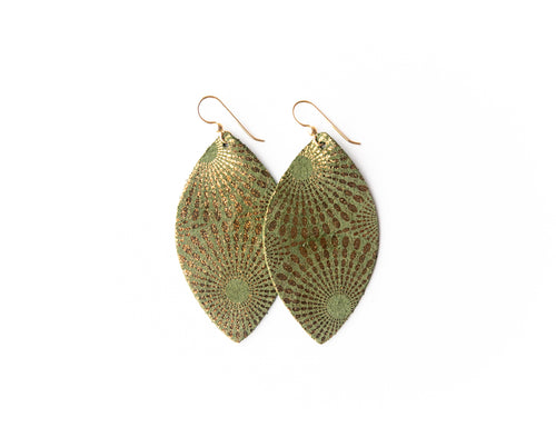 Starburst Green Leather Earrings
