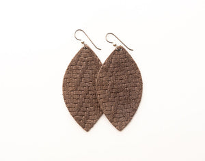 Brown Chevron Leather Earrings
