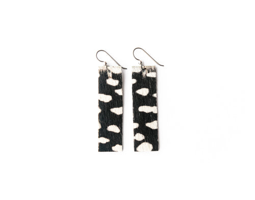 Spotted in White Four Corners Leather Earrings