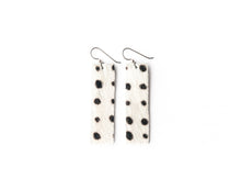 Load image into Gallery viewer, Spotted in Black Four Corners Leather Earrings