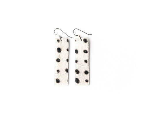 Spotted in Black Four Corners Leather Earrings