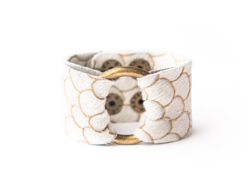 Scalloped in Taupe and Cream Leather Cuff