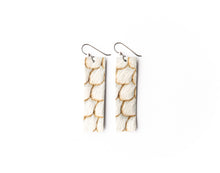 Load image into Gallery viewer, Scalloped in Cream and Taupe Four Corners Leather Earrings