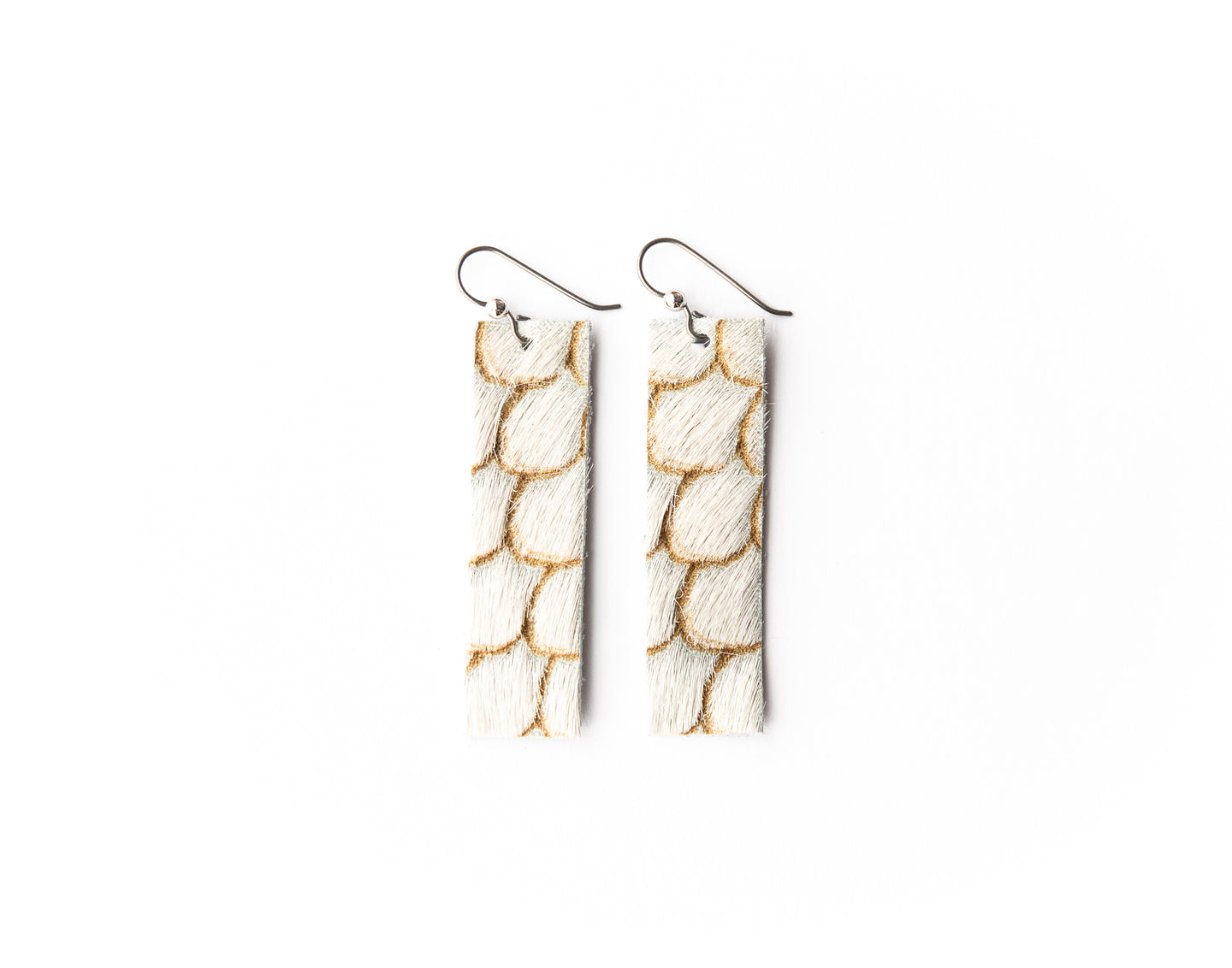 Scalloped in Cream and Taupe Four Corners Leather Earrings