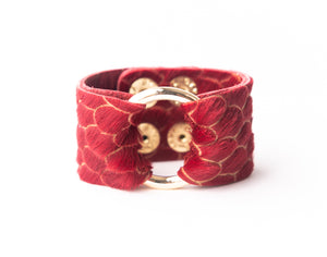 Scalloped in Red Leather Cuff