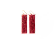 Load image into Gallery viewer, Scalloped in Red Four Corners Leather Earrings