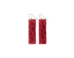 Scalloped in Red Four Corners Leather Earrings