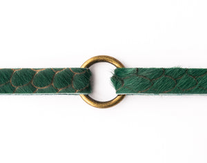 Scalloped in Green Leather Bracelet