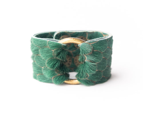 Scalloped in Green Leather Cuff