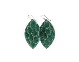 Scalloped in Green Leather Earrings