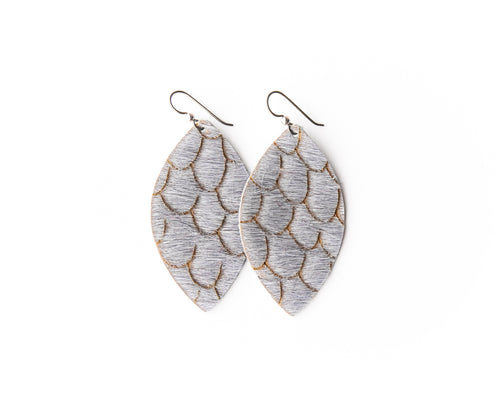 Scalloped in Gray Leather Earrings