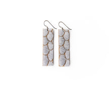 Load image into Gallery viewer, Scalloped in Gray Four Corners Leather Earrings