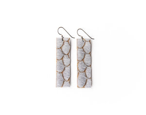 Scalloped in Gray Four Corners Leather Earrings