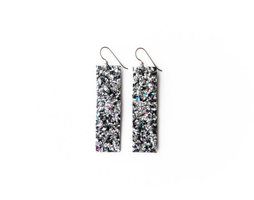 Sparkle in Black and Silver Leather Earrings | LIMITED EDITION