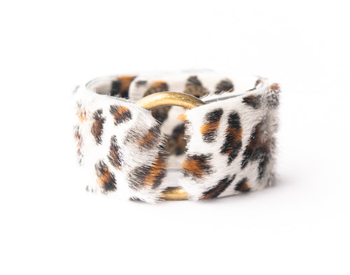 Leopard in White Leather Cuff