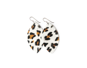 Leopard in White Leather Earrings