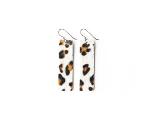 Leopard in White Four Corners Leather Earrings