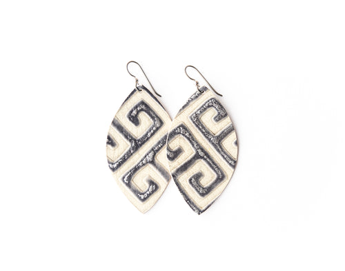Greek Key Leather Earrings