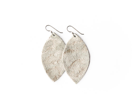 Silver Spot Cheetah Leather Earrings