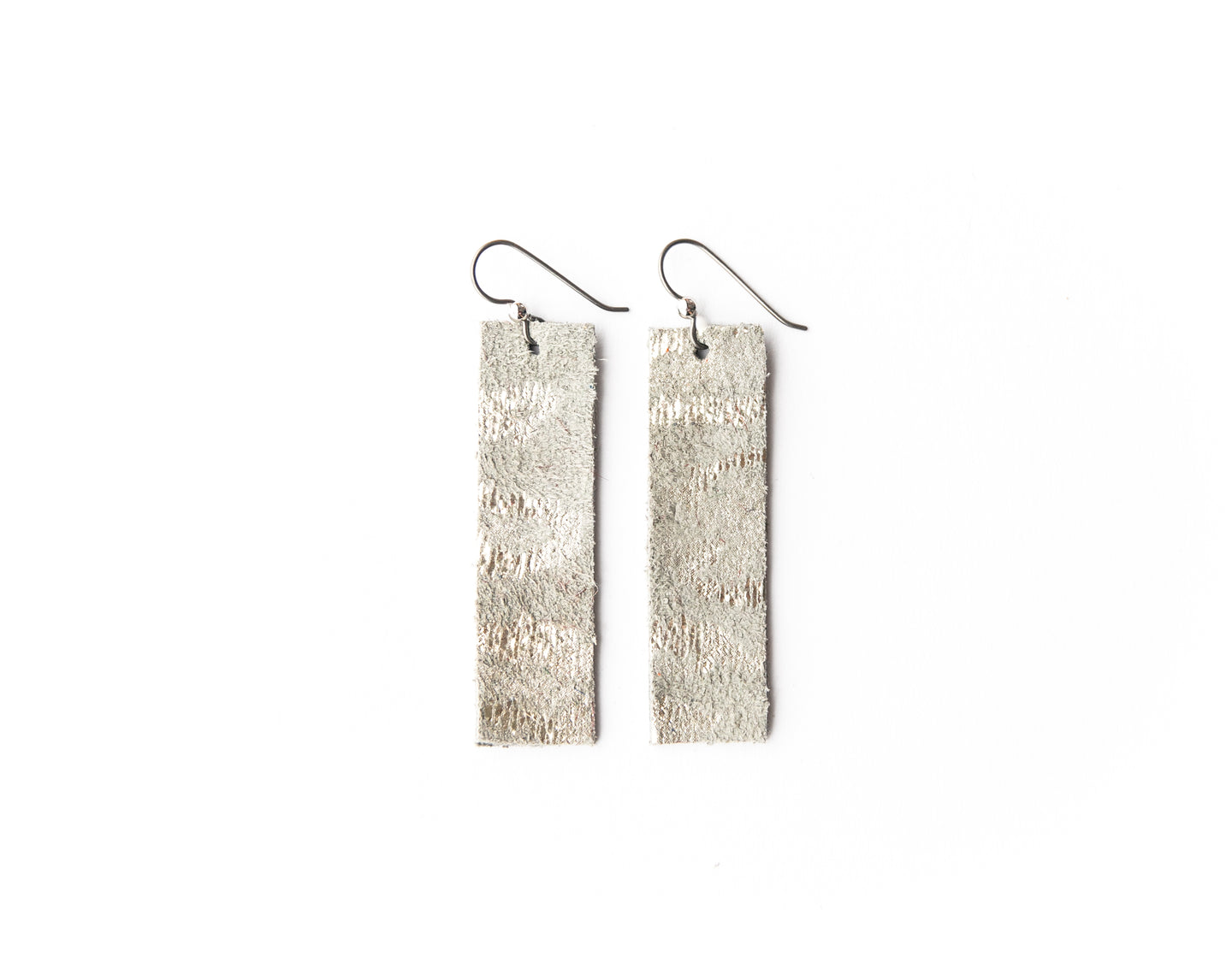 Silver Spot Cheetah Four Corners Leather Earrings