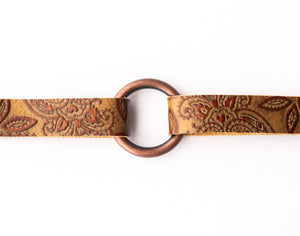 Carved Brown Leather Bracelet